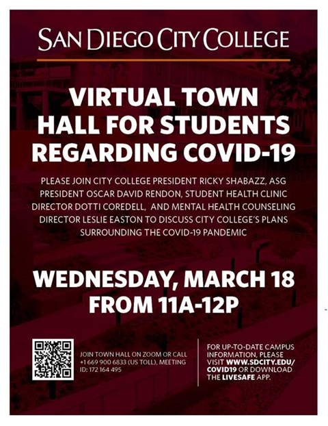 Flier of Virtual Town Hall