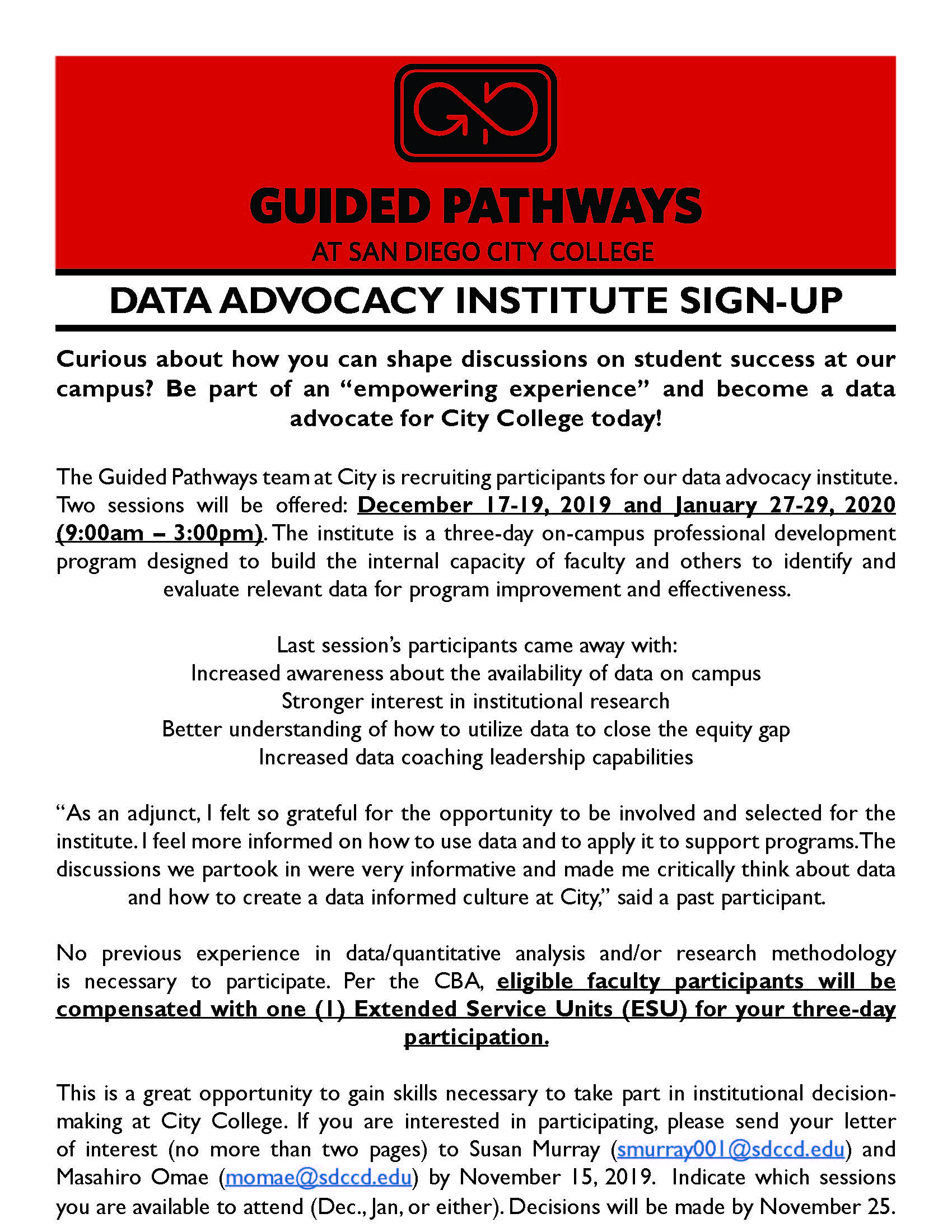 FLYER - 3-day Data Advocacy Institute (for Faculty)