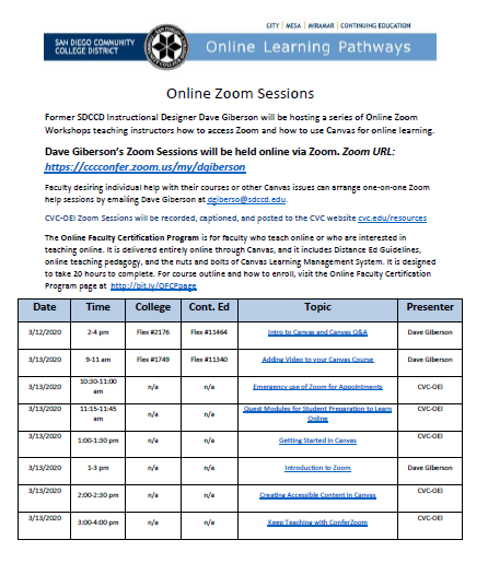 March 2020 Online Learning Pathways Training Schedule