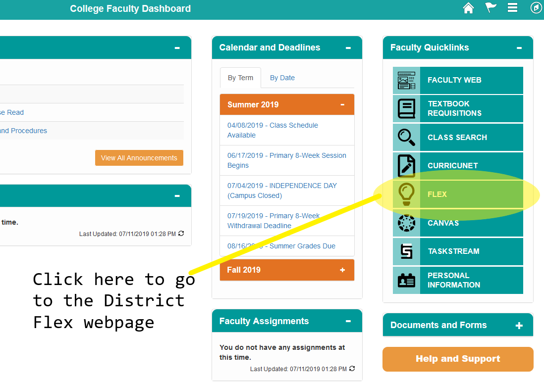 Screenshot of the Faculty Dashboard in Campus Solutions with the Flex link highlighted