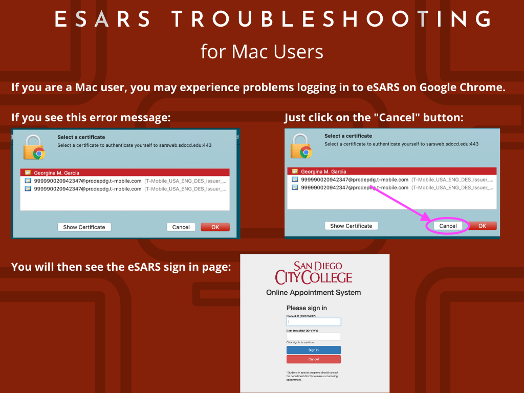 eSARS Troubleshooting for Mac Users graphic