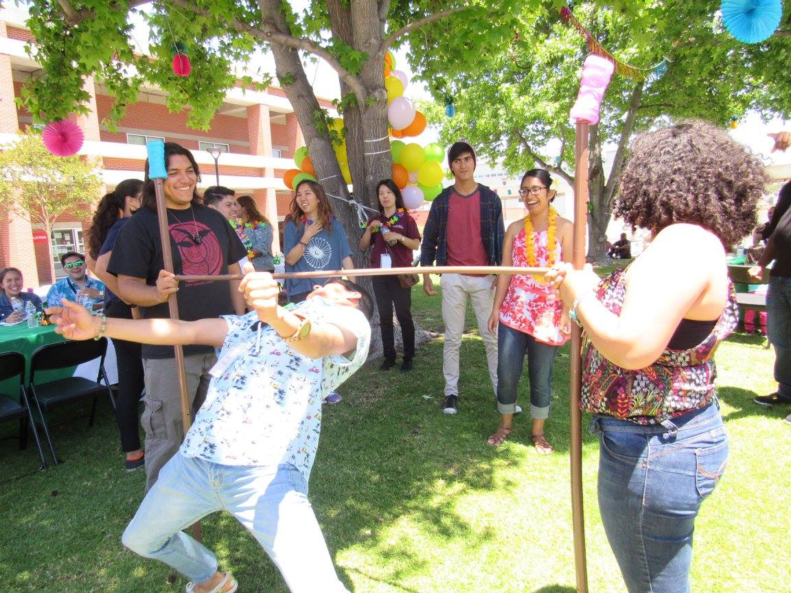 students playing limbo