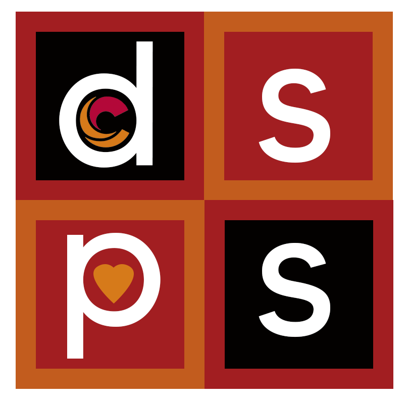 City dsps logo black red orange rectangles with white letters