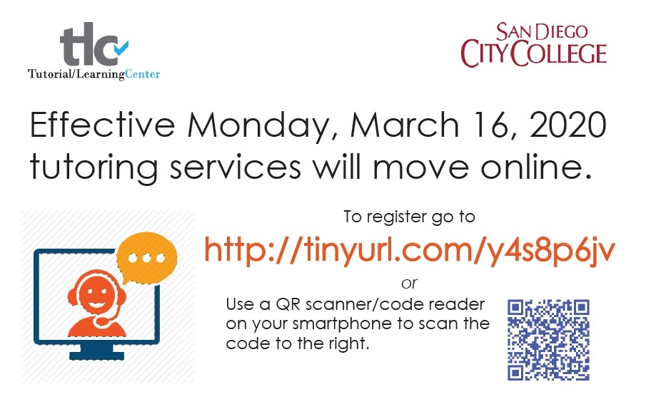 Effective Monday, March 16, 2020, tutoring services will move online